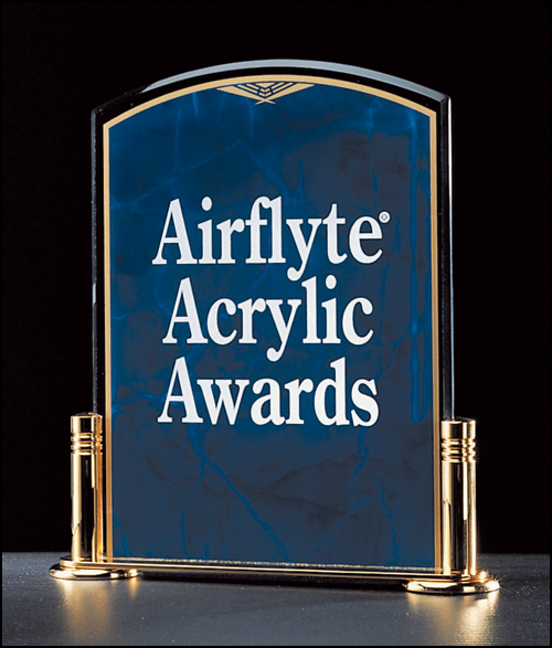 "Airflyte Airflyte Sapphire Marble Design Series 3/16"" thick acrylic award on a gold metal base with columns"