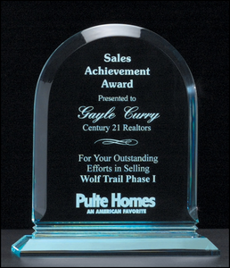 Airflyte Arch Series Polished acrylic award on acrylic base | 3 SIZES