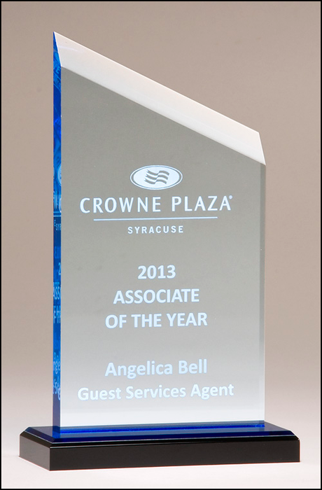 Airflyte Zenith Series acrylic award. Clear upright with blue accents, black acrylic base with blue mirror top | 3 SIZES