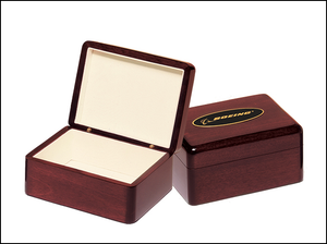 Airflyte Rosewood stained piano finish jewelry box with beige felt lining | 2 SIZES