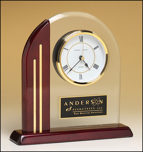 Airflyte Arch clock with glass upright and rosewood piano-finish post and base