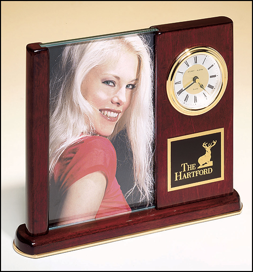 Airflyte Rosewood stained piano finish desk clock with glass picture frame