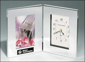 Airflyte Combination clock and photo frame in polished silver aluminum