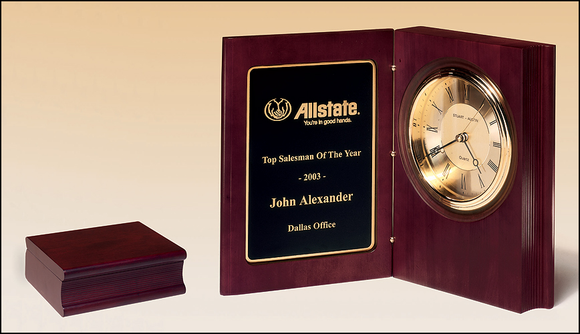 Airflyte Hand-rubbed rich mahogany finish book clock, gold spun dial, three hand movement