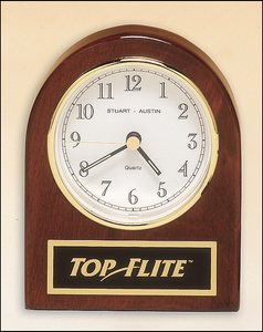 Airflyte Rosewood stained piano finish desk clock with three hand movement
