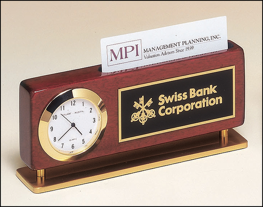 Airflyte Rosewood stained piano finish combination clock and business card holder with gold metal accents