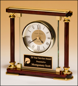 Airflyte Traditional glass and rosewood piano-finish clockwith gold metal accents