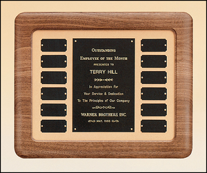 Airflyte Solid Walnut frame 12 Plate Perpetual Plaque with Black Brass plates on Tan Velour background