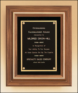Airflyte Solid American walnut framed plaque with gold trim and Black Velour background | 2 SIZES