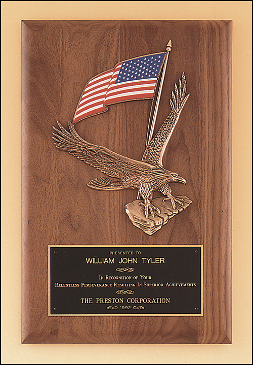 Airflyte Solid American walnut plaque with a Large Eagle and American flag casting | 2 SIZES