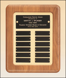 Airflyte Solid Walnut frame 12 Plate Perpetual Plaque with Black Brass plates on brushed metal gold background