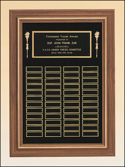 Airflyte Solid American walnut 24 to 48 Plate Perpetual Frame Plaques on a black velour background | 3 SIZES