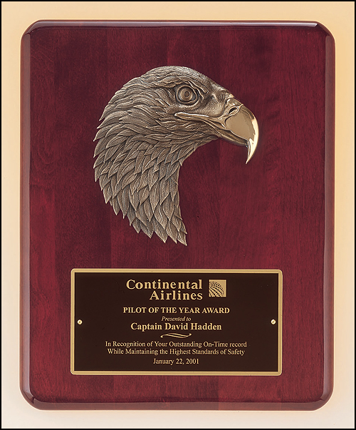 Airflyte Rosewood stained piano finish plaque with antique bronze finish finely detailed Eagle casting | 2 SIZES