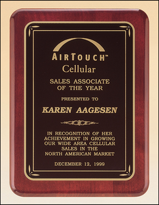Airflyte Rosewood stained piano finish plaque with gloss black border and matte black center | 3 SIZES