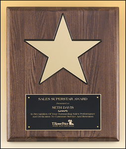 "Airflyte Gold aluminum Star (8"") on walnut stained piano-finish board with black recessed area"
