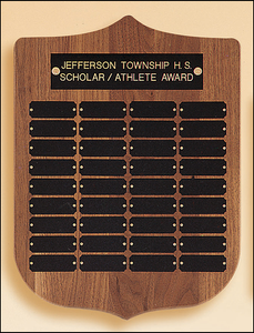 Airflyte Walnut Shield Perpetual plaque with 36 Engraving Plates