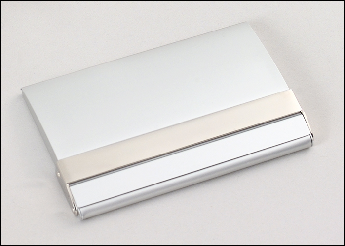Airflyte Matte silver business card case with polished silver accent