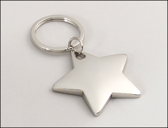Airflyte Polished silver Star keyring