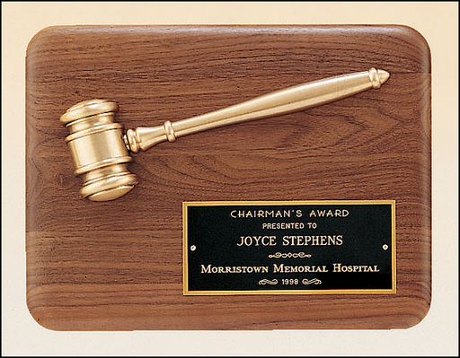 Airflyte 9x12 American walnut plaque with an antique bronze gavel casting