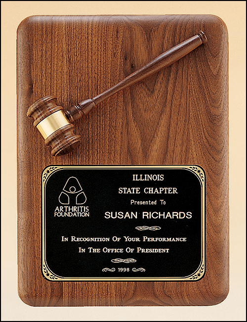Airflyte 11x15 American walnut plaque with walnut gavel and black brass plate