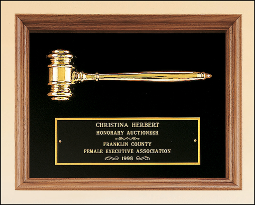 Airflyte 15x18 American walnut frame with a gold electroplated metal gavel on Black or Maroon Velour | 2 COLORS