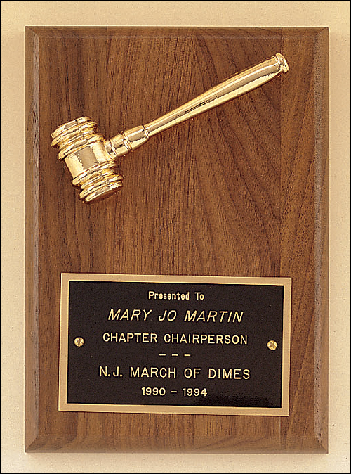 Airflyte 5x7 American walnut plaque with a goldtone metal gavel