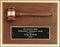 Airflyte American walnut plaque with walnut gavel and black brass plate