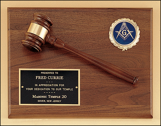 Airflyte 9x12 American walnut plaque with walnut gavel and Logo insert