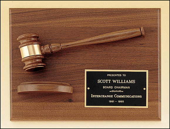 Airflyte 9x12 American walnut plaque with walnut gavel