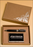 Airflyte Chrome plated pen and business card case with black accents. Eco-friendly packaging