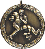 "2"" XR Series football Award Medals on 7/8"" Neck Ribbons"