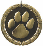 "2"" XR Series mascot paw print Award Medals on 7/8"" Neck Ribbons"