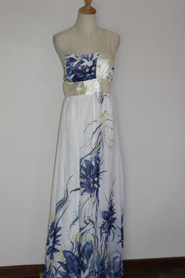 White with Blue Floral Maxi Size 8, 10,  14 & 16 *CLEARANCE*