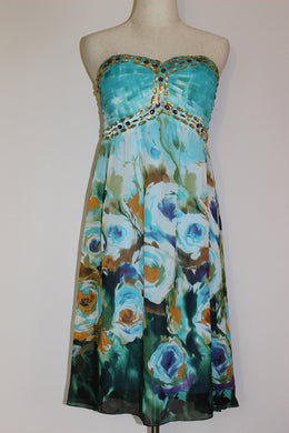 Floral Dress Blue + Rhinestones Size 12 & 14 *CLEARANCE*