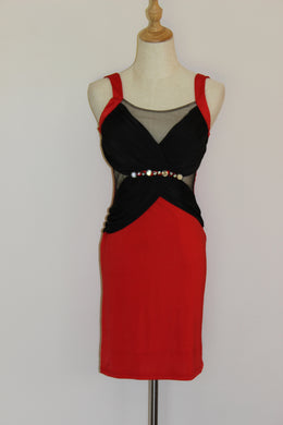 CLEARANCE: Red & Black Cut Out Mesh Dress Size 8