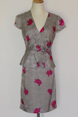 Leona 'Leona Edmiston' Gingham Rose' Dress Size 8