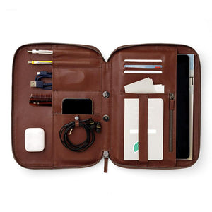 Handmade Tablet Multi-function Leather Handbag Travel Wallet