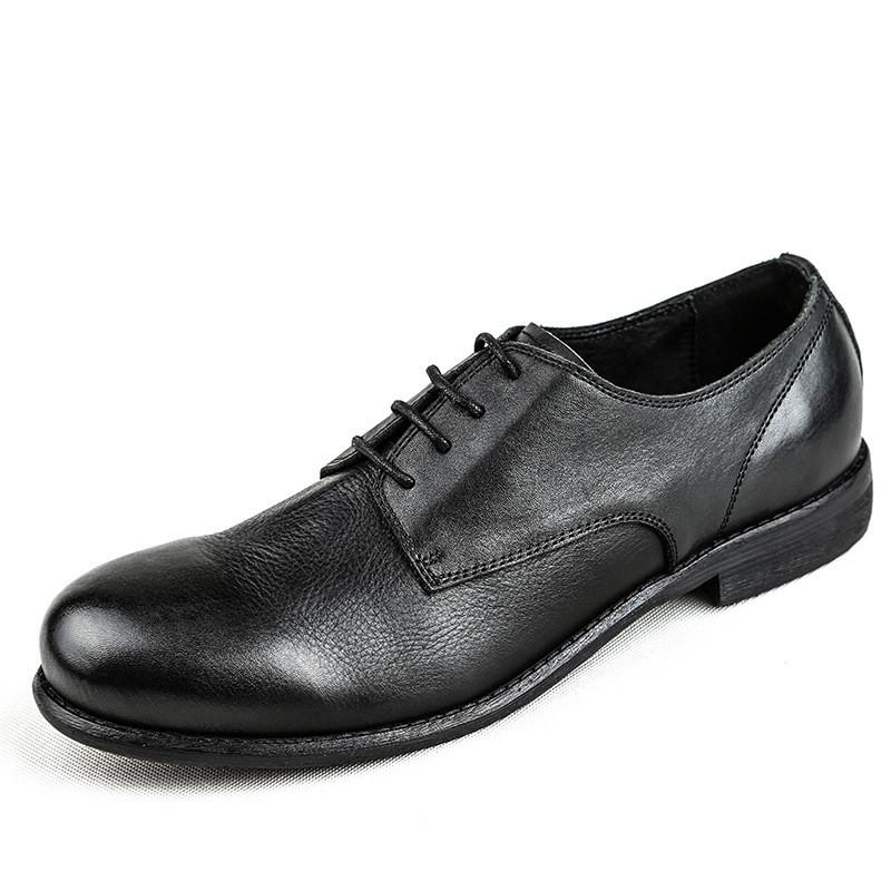 Men Round Toe Vintage Leather Dress Shoes
