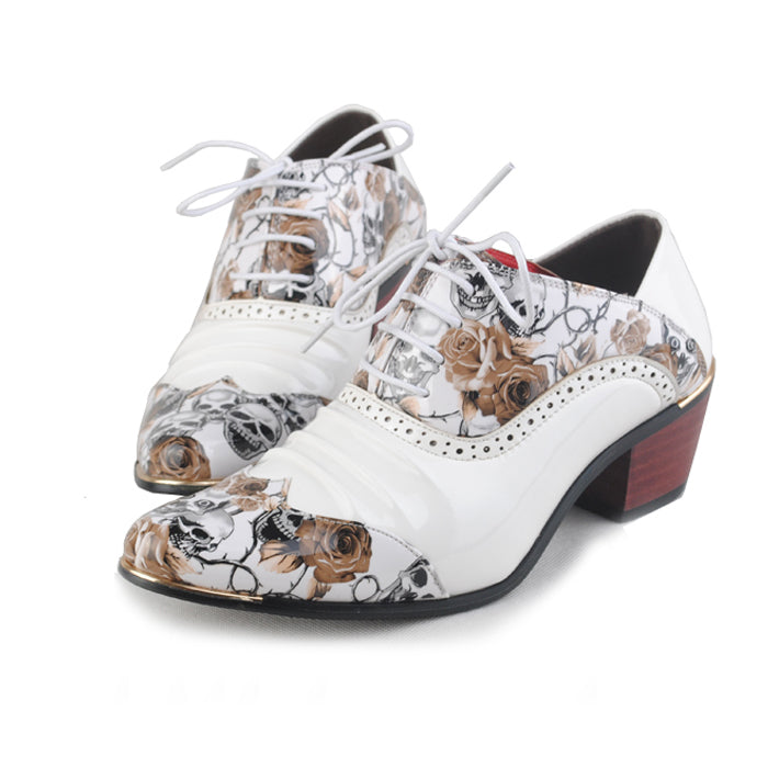 British Style Shoes Pointed Print Retro Banquet Business Dress Shoes