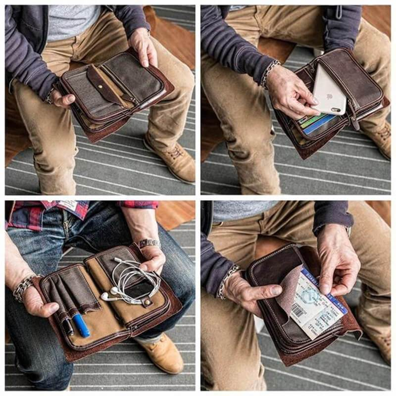 Handmade Leather Travel Wallet Passport Wallet