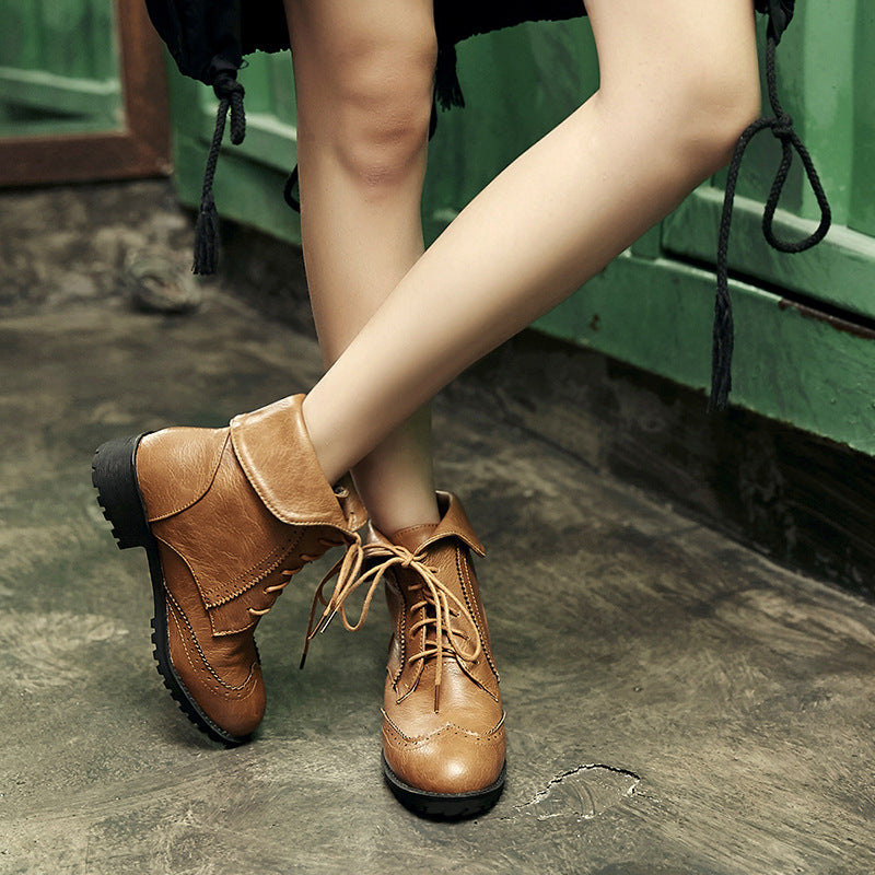 Women's Vintage Foldable Side Lace Martin Boots