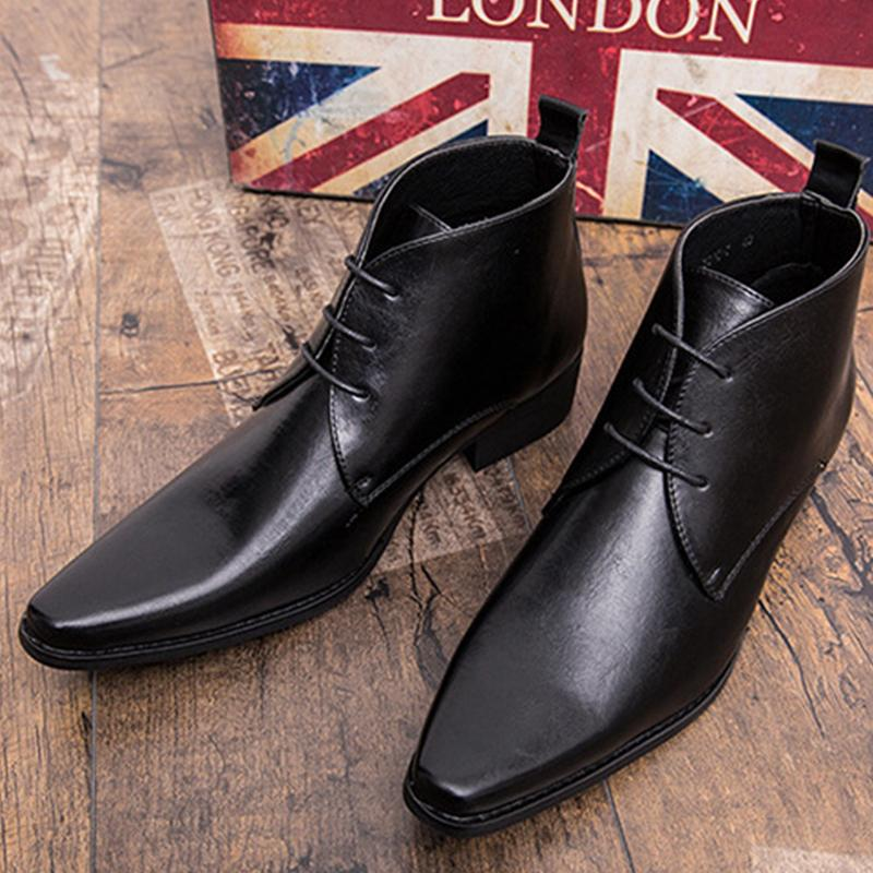 Men's Pointed Lace-up Boots