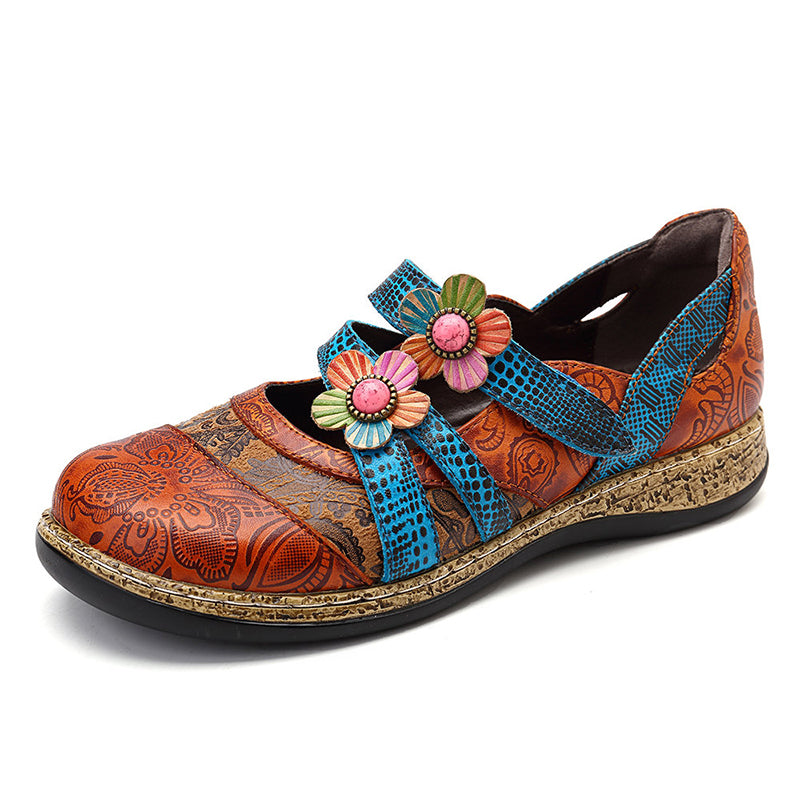 Women Vintage Leather Flower Stitching Color Flats Shoes