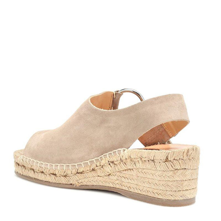 Women's Suede Leather Espadrille Buckle Platform Comfy Sandals