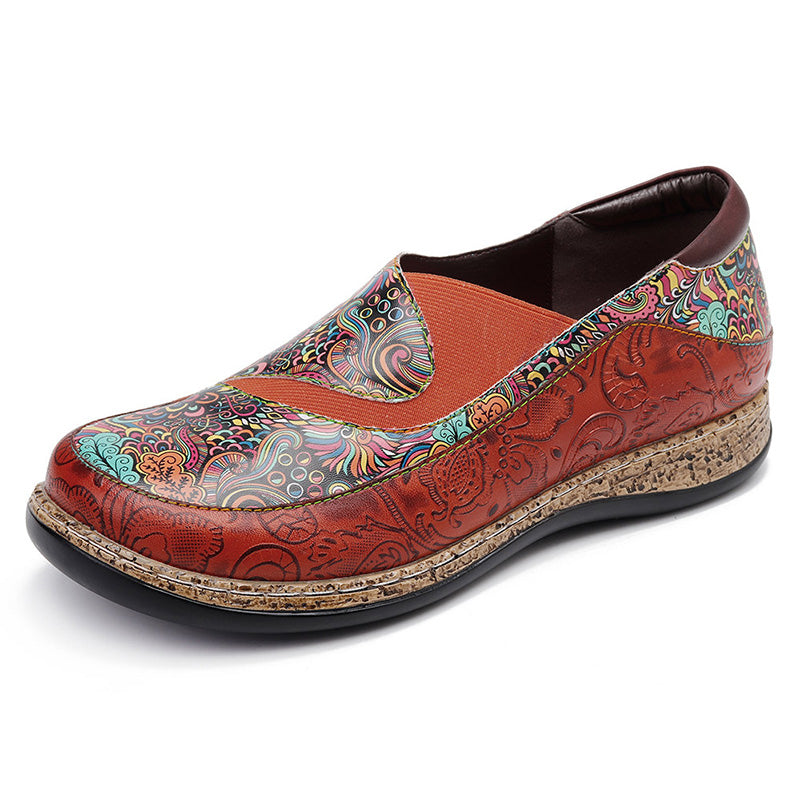 Women Leather Fancy Flowers Elastic Band Flats Slip-On Shoes