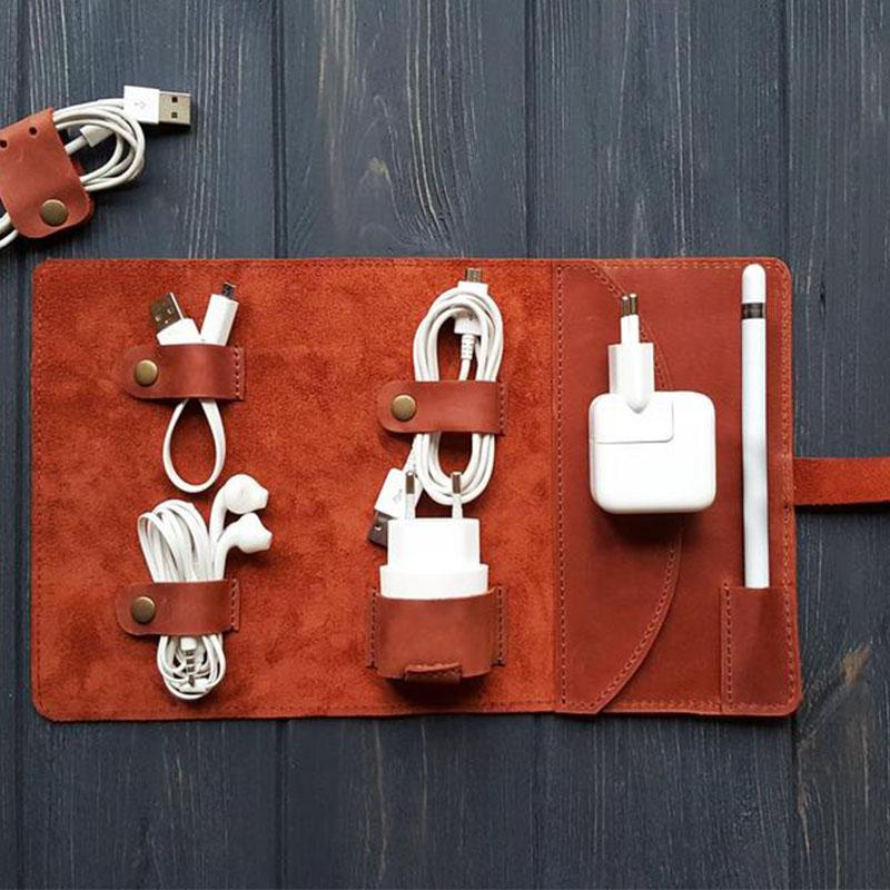 Leather Cord Organizer Travel Cord Roll