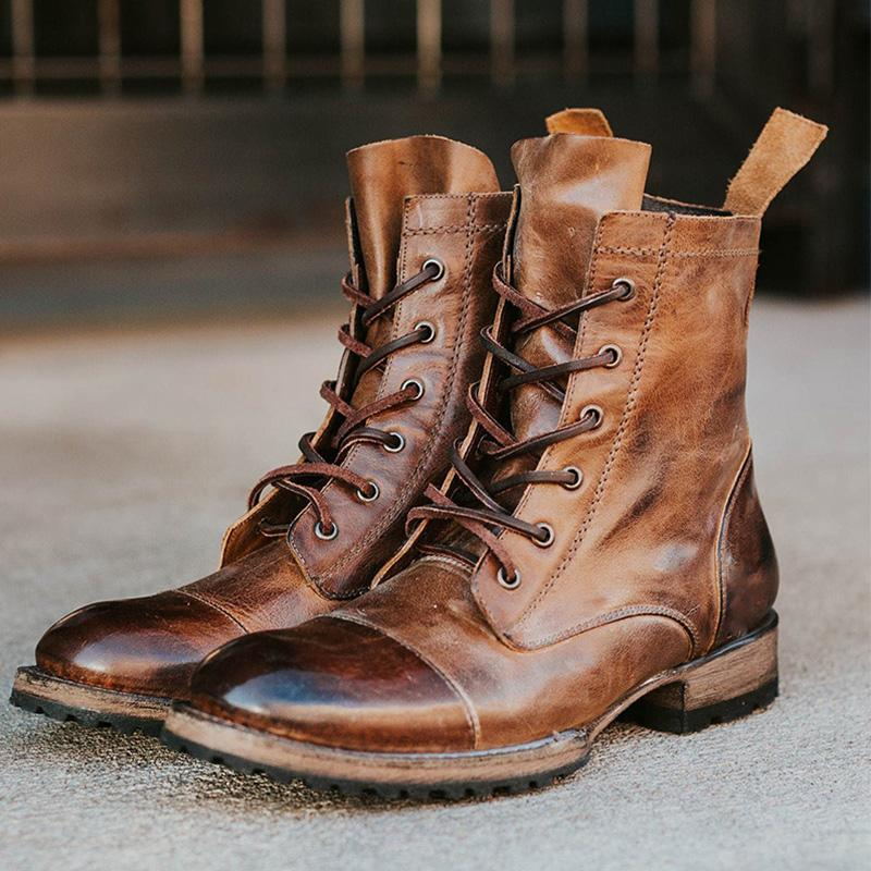 Men's Retro Lace-up Boots
