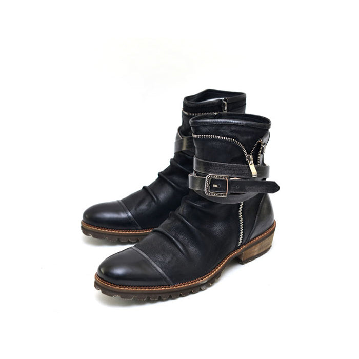 Men Leather Pleated Boots