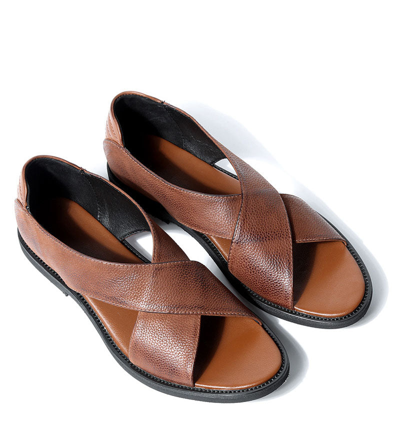 Men Cross Leather Sandals