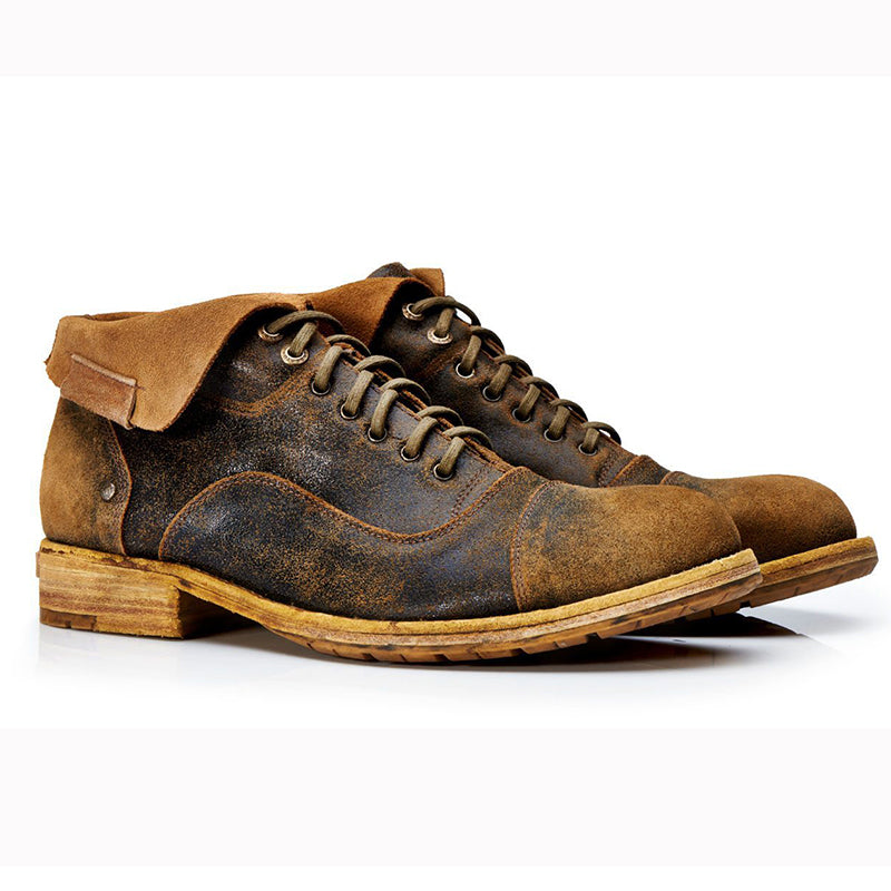 Men Unique Vintage Leather Lace-up Boots